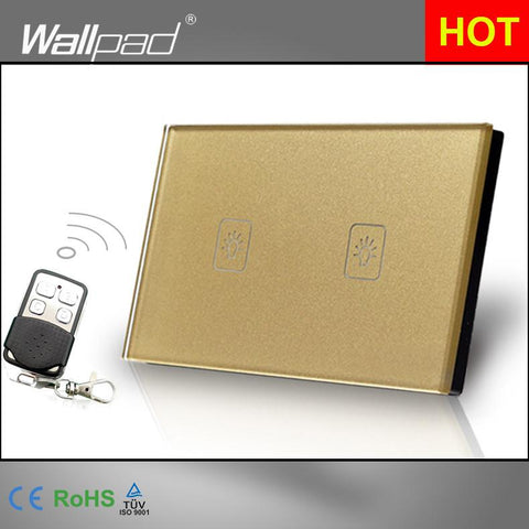 $36.41- Wireless 2 Gang 1 Way 118*72Mm Au Usa Wallpad Gold Tempered Glass 2 Gang Touch Remote Control Switch Panel