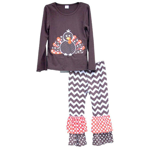 $24.30- Children Clothing Set Thanksgiving Holiday Gobble Costume Turkey Sticker Pullover Striped Pants Fashion Girls Outfits T004