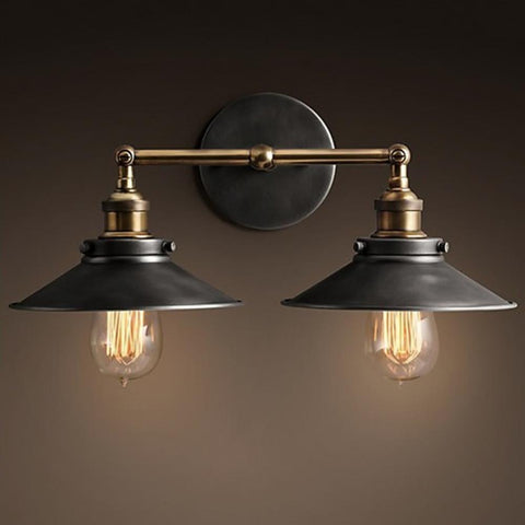 $71.48- Modern Vintage Loft Metal Double Heads Wall Light Retro Brass Wall Lamp Country Style E27 Edison Sconce Lamp Fixtures 110V/220V