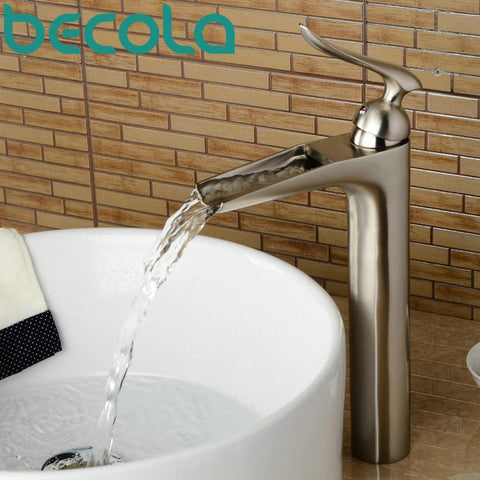 $129.71- Brushed Nickel Basin Faucet Hot Cold Water Waterfall Faucet Bathroom Brass Tap Lt603L