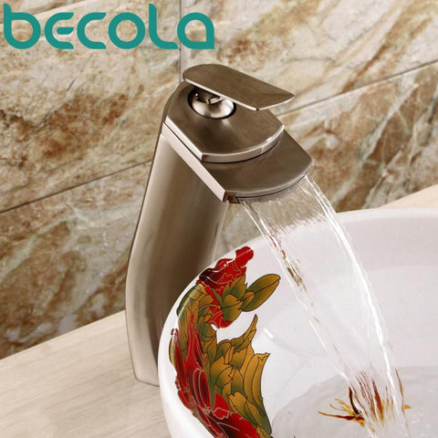 $111.08- Becola Brushed Nickel Faucet Waterfall Tap Deck Mounted Bathroom Brass Basin Faucet Lh8033L