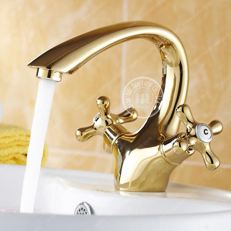 $111.21- Bathroom Gold Taps Fashion Single Handle Hot Cold Faucet Deck Mounted Basin Faucet Gz7302K