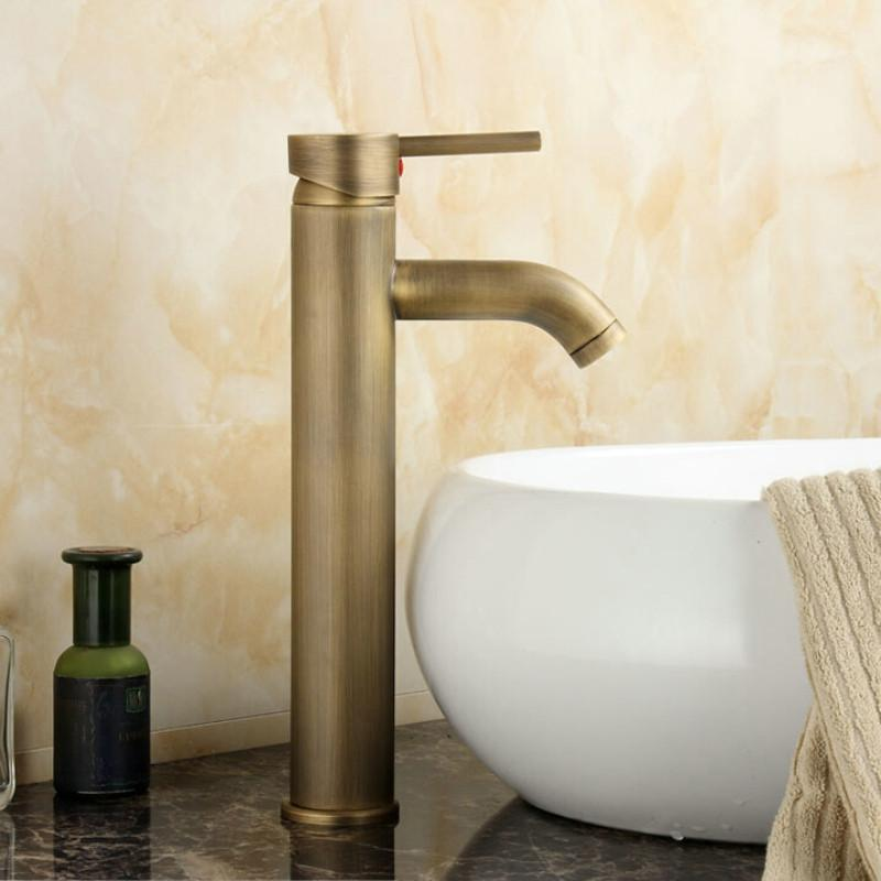 $63.43  Antique Brass Faucet Bathroom Brass Mixer Single Handle Single Hole  Surface Mounted Basin Tap