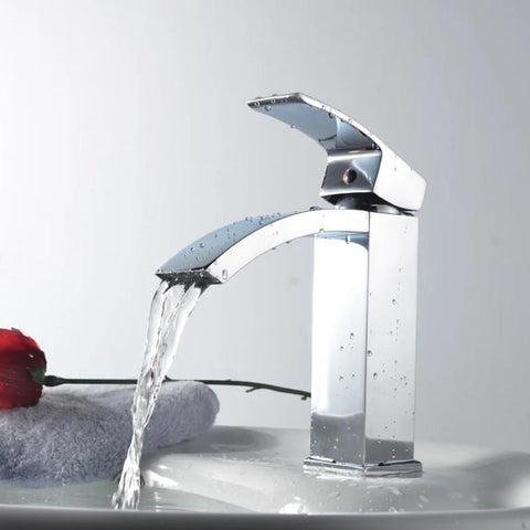 $95.56- Waterfall Faucet Chrome Bathroom Sink Mixer Tap Washbasin Basin Faucet Lh8028