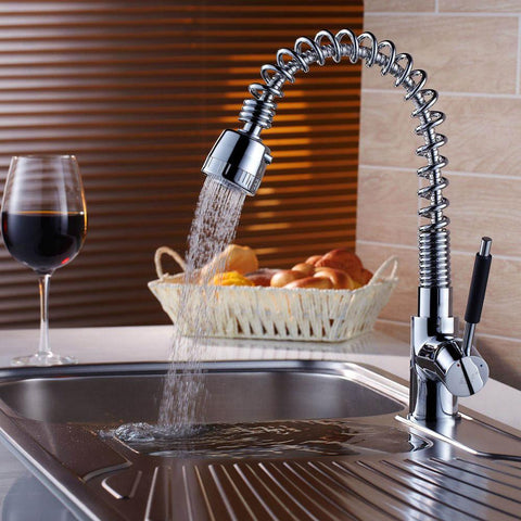 $104.28- Hot Chrome Kitchen Faucet Dual Handle Single Hole Luxury Sink Mixer Taps Pull Out Spray Bathroom Basin Kitchen Tap Ch8011