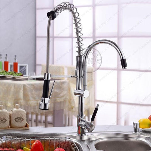 $259.88- Deck Mount Spring/Pull Out Brass Kitchen Faucet Hot Cold Chrome Pull Down Spray Water Tap 2 Holes Mixer Luxury Sink Lh8099