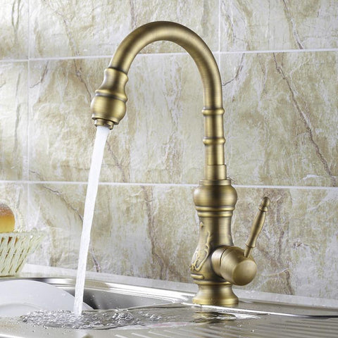$97.24- High Quality Kitchen Faucet Antique Bronze Sink Tap Kitchen Mixer Brass Pool Faucet Hy669