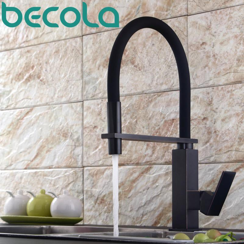$160.92- Becola Design Black Antique Brass Kitchen Faucet Pull Out Down Kitchen Mixer 360 Swivel Sink Tap B9204B