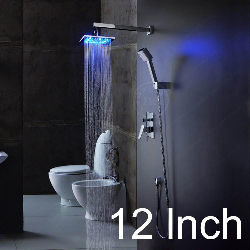 $309.62- 8101216 Inch Led Brass Bathroom Rainfall Led Shower Faucet Mixer Tap Set W/ Copper Shower Head Home Improvement