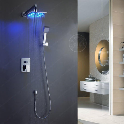 $374.22- Becola Luxury Led Right 12 Inch Brass Bathroom Shower Head Rainfall W/ Shower Arm BrLed1212
