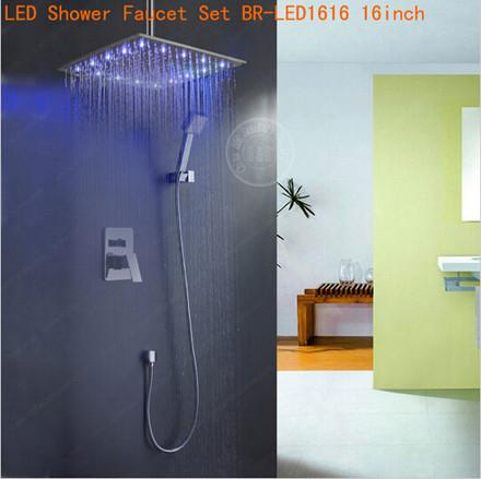 $223.38- Fashion Rain Shower Set 8101216 Inch Single Handle InWall Faucet Bath Shower Mixer Brass Chrome BrLed