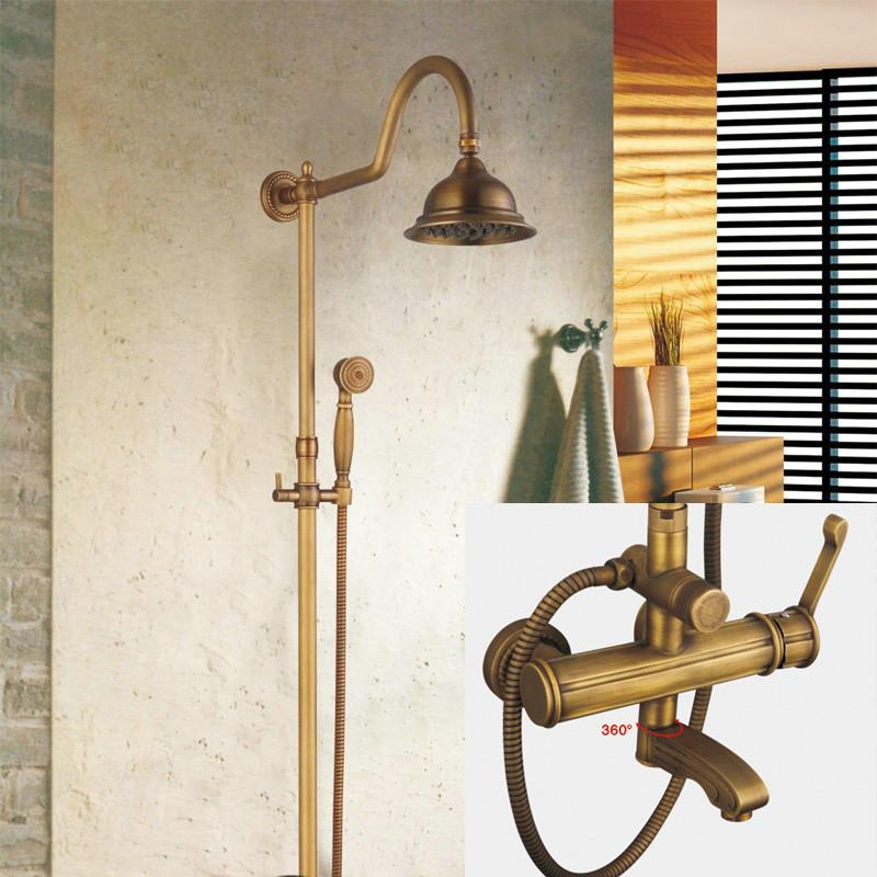 $407.60- Becola Antique Brass 8Inch Shower Head ValveHand Spray Bathroom Wall Mount Shower Faucet Set Gz6004