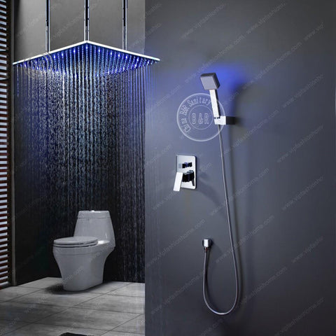$528.41- High Quality Becola Brass Bathroom Super Deluxe Shower Set Big 20 Led Shower Head Led Hand Shower BLed2020