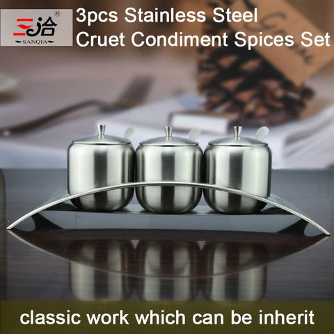 New Style High Quality 3Pcs Cruet Condiment Spices Set W/ A Spice Rack Stainless Steel Condiment Canister Seasoning Tools