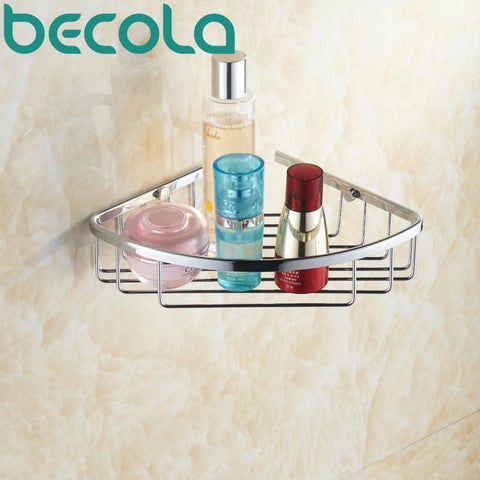 $43.40- Becola Wall Mounted Chrome Brass Bathroom Accessories Basket Bath Shower Shelf Basket B6701
