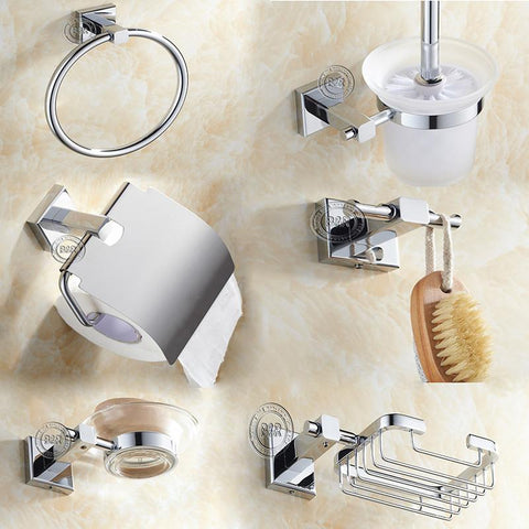 $142.12- Round Stainless Steel Bathroom Accessories Toilet Brush SetSoap DishRobe HookPaper HolderTowel Bar6 Pcs/Set