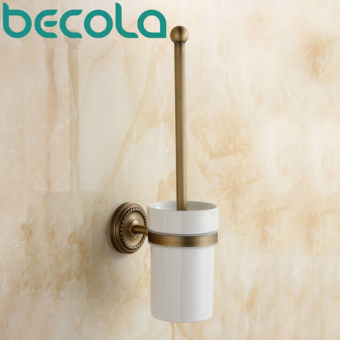 $57.98- Bathroom Accessory Antique Toilet Brush Holder High Quality Brass Toilet Brush Holder Ceramic Cup Gz9008