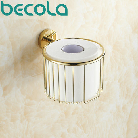 $63.94- Wall Mounted Brass Gold Plated Finish Bathroom Accessories Toilet Paper Holder Bathroom Roll Holder Br6725