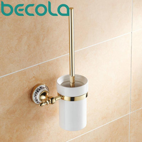 $69.39- Gold Plated Finish Toilet Brush Holder Bathroom Accessories Brass & Ceramic Cup Toilet Brush Holder Br5508