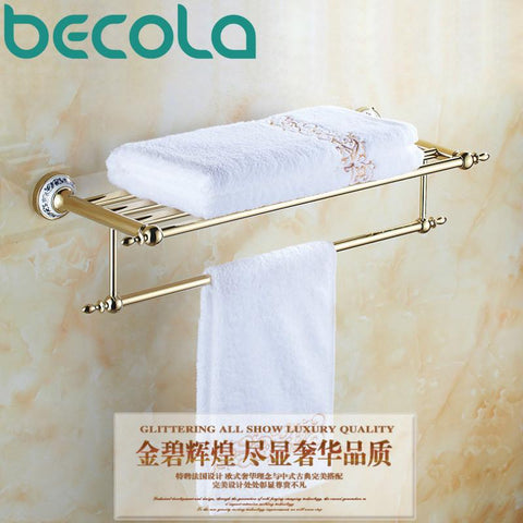 Free Shipping Gold Plating Towel Shelf Double Towel Rack Towel Bar bathroom accessories BR-5511