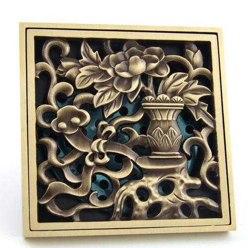 $35.46- Antique Copper AntiOdor Square Vase Bathroom Accessories Sink Floor Shower Drain Cover Luxury Sewer Filter K8845
