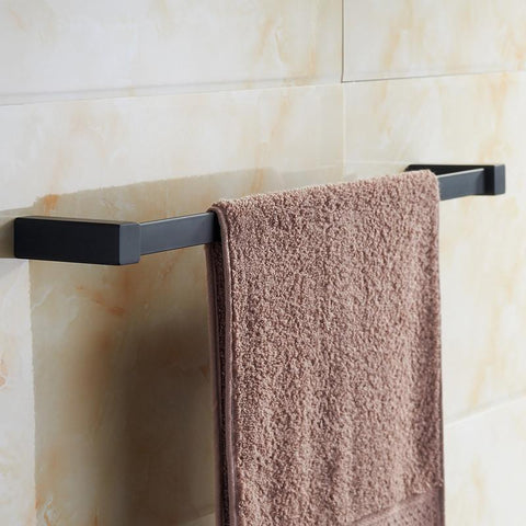 $53.12- Arrival Bathroom Square Single Towel Bar 22 Stainless Steel Black Spray Painting Towel Rack Set Holder Shelf Wall Mounted
