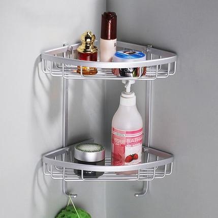 Two Layer Space Aluminum Towel Washing Shower Basket Bar Shelf Wall Mounted shampoo holder Bathroom Accessories