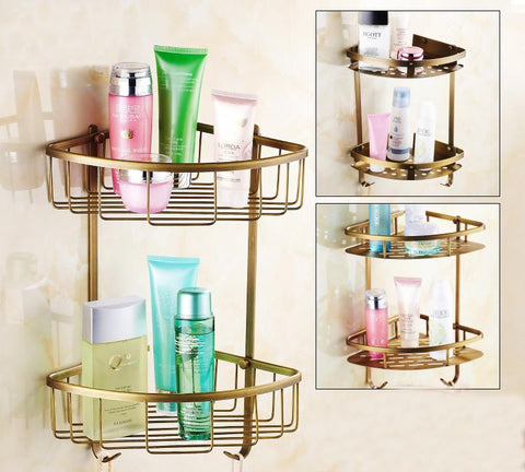 Two Layer Space brass Towel Washing Shower Basket Bar Shelf Wall Mounted shampoo holder Bathroom Accessories
