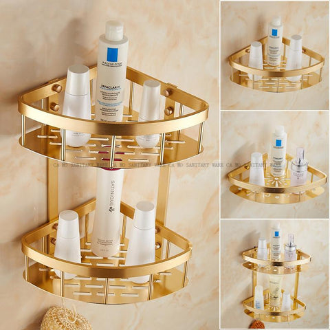 Free Shipping Wall Mounted Gold finish NEW aluminum Bathroom Shower Shelf bathroom Basket Holder sanitary ware