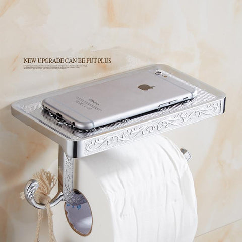 $34.51- Toilet Roll Paper Holder W/ Mobile Phone Rack Wall Mounted No Cover Space Bathroom Accessories
