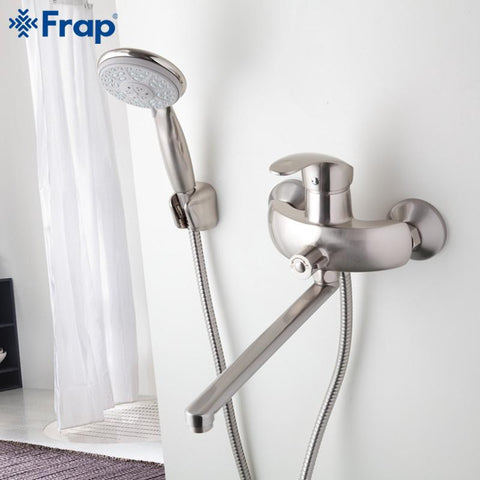 1 Set Nickel Brushed Bathroom Shower Faucet Brass Body Mixed Hot Cold Water  Taps Abs Shower Head 300Mm Outlet Pipe F22215