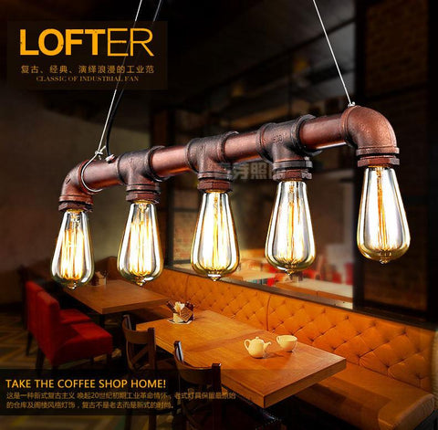 $153.00- Nordic American Countryside Minimalist Designer Industrial Pipe Loft Restaurant Bar Entrance Pendant Lamp Chandelier Lighting