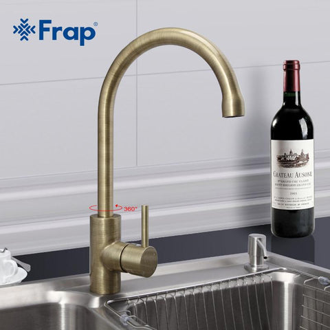 $57.78- Frap Arrival Retro Style Bronze Brushed Kitchen Faucet Cold Hot Water Mixer Single Handle 360 Degree Rotation F40524