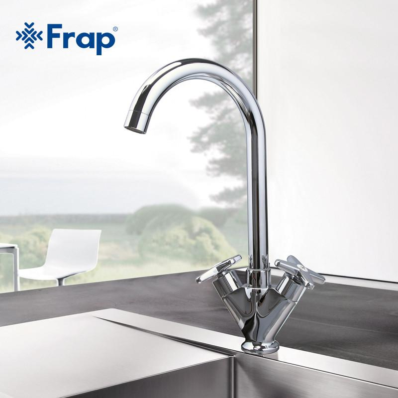 $70.67- Simple Style Dual Handle Cold Hot Water Mixer Tap Kitchen Faucet Outlet Pipe Of Gooseneck Design F4098 & F4099
