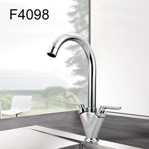 $51.75- Simple Style Dual Handle Cold Hot Water Mixer Tap Kitchen Faucet Outlet Pipe Of Gooseneck Design F4098 & F4099