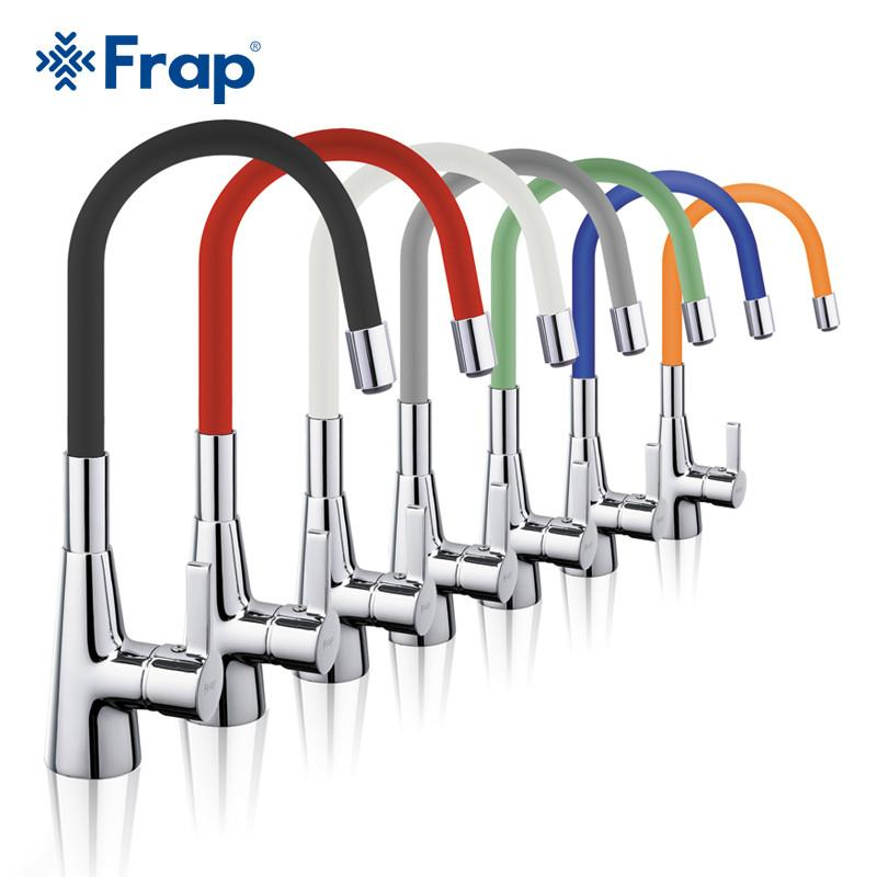 $119.67- Frap Arrival 7Color Silica Gel Nose Any Direction Rotation Kitchen Faucet Cold Hot Water Mixer Torneira Cozinha F4153
