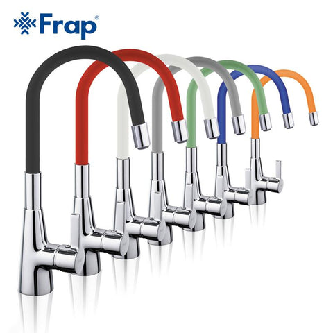 $88.50- Frap Arrival 7Color Silica Gel Nose Any Direction Rotation Kitchen Faucet Cold Hot Water Mixer Torneira Cozinha F4153