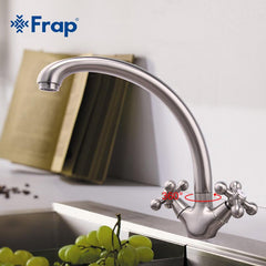 1 Set Frap Hot Sale Brushed Nickel Kitchen Faucet Double Handle Cold and Hot Mixer F4219-5