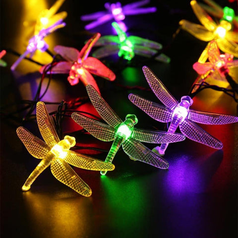 Outdoor Solar Sun Led String Light 5M 20 Led Dragonfly Solar Sun Panel Strip Light Ip65 Waterproof Garden Christmas Party Decoration