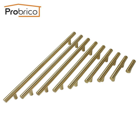 $2.53- Probrico Gold Stainless Steel Diameter 12Mm Hole Center 50Mm~256Mm Kitchen Cabinet T Bar Door Knob Furniture Drawer Handle Pull