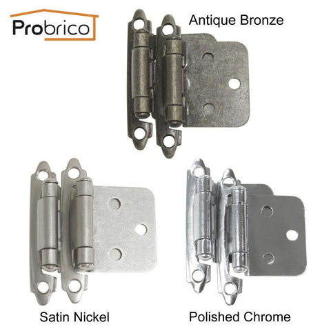 $28.58- Probrico 5 Pair Self Close Antique Bronze/Satin Nickel/Polished Chrome Kitchen Cabinet Hinge Ch197 Cupboard Door Hinge