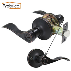 $48.86- Probrico Stainless Steel Entrance Lock Security Door Lock W/ Key Wave Style Door Handle Knob Oil Rubbed Bronze Dl12061Orbet
