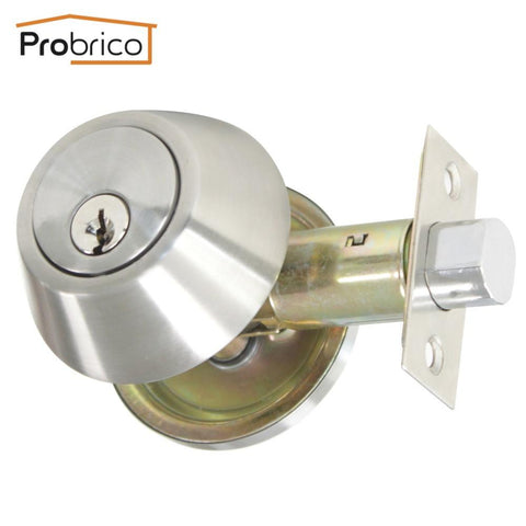Probrico Wholesale 10 PCS Deadbolt Security Door Lock With Key Stainless Steel DLD101SNDB Door Handle Safe Entrance Locker