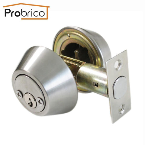 Probrico Stainless Steel Double Deadbolt Security Door Lock W  Key Satin  Nickel Dld102Sndb Entrance Safe Lock. High Quality Door Lock Bedroom Door Interior Room Door Solid Wood