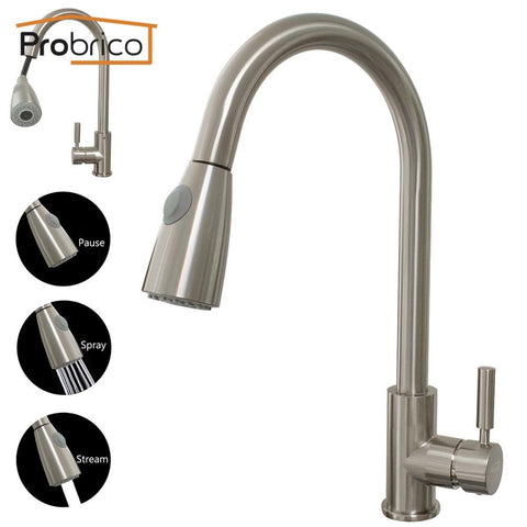 Yanksmart Nickel Brush Kitchen Faucet Sink Mixer Basin Swivel Spout Deck Mounted Basin Tap Torneira