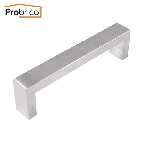 Probrico Wholesale 100 PCS 10mm*20mm Square Bar Handle Stainless Steel Hole Spacing 128mm Cabinet Knob Pull PDDJ30HSS128