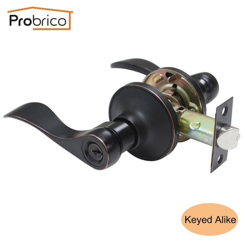 Probrico Keyed Alike Door Lock Stainless Steel Security Safe Satin Nickel Door Handle Knob Entrance Locker Dl12061Snet