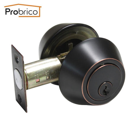 Probrico Wholesale 10 PCS Stainless Steel Double Deadbolt Security Door Lock With Key Safe Lock DLD102ORBDB Entrance Locker