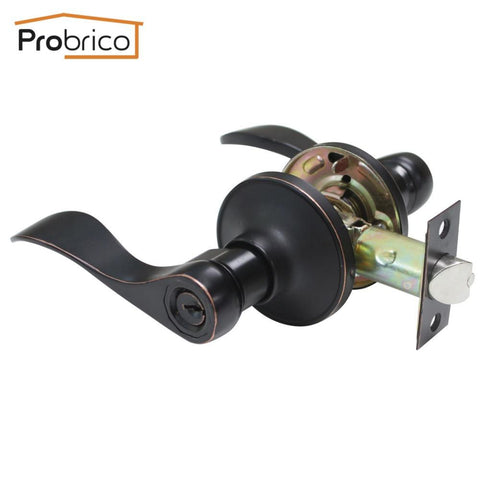 Probrico Keyed Alike Door Lock Stainless Steel Entrance Lock Security Wave Style Door Handle Knob Oil Rubbed Bronze Dl12061Orbet