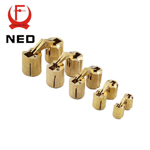 $5.76- Ned 4Pcs 8Mm Copper Barrel Hinges Cylindrical Hidden Cabinet Concealed Invisible Brass Hinges Mount Furniture Hardware